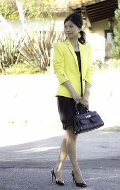 Yellow blazer & LBD | wear to work, women's style | office attire, work outfit