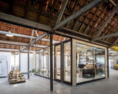 Gallery of Factory Life / Julie D'Aubioul   Great combination of office / workshop / living space all inside an old factory frame