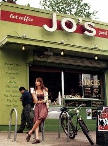 Jo's Coffee on South Congress - Great fair trade coffee, full breakfast menu, amazing hamburgers, large selection of draft beer, bottled beer, wine, fresh salads, specialty sandwhiches, corporate take-out and delivery.