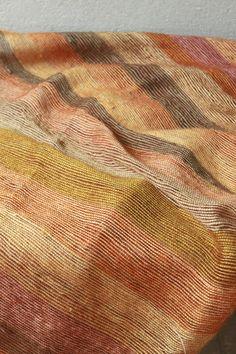 Gold, wheat and khaki striped mohair blanket