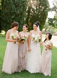 Mix and match neutral bridesmaid dresses. Photo by Jemma Keech Photography. www.wedsociety.com #bridesmaids