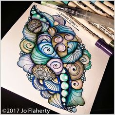 Learn how to color amazing Zentangle Doodles Zentangles, Tangle Doodle, Zentangle Drawings, Doodle Drawings, Doodle Art, Doodle Designs, Doodle Patterns, Zentangle Patterns, Zantangle Art