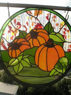 Stained Glass Pumpkin Panel