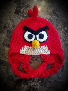 Crochet Mad Red Bird Hat by jetaimeboutique83406 on Etsy