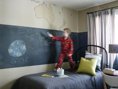 Encourage creativity by adding a wide chalkboard stripe around the walls of your kid's bedroom.