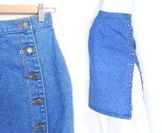 Size 4 High Waisted Denim Midi Skirt - Vintage 80s 90s Button Up Women's Blue Jean Long Skirt Denim Skirt, Midi Skirt, Women Lifestyle, Jean, Plus Size Outfits, Blue Denim, Ballet Flats, High Waisted Skirt, Vintage Outfits