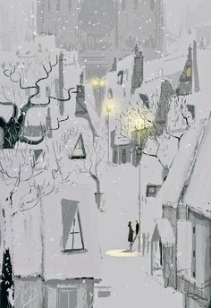 EASTERN design office — speciesbarocus: Pascal Campion - Four thirty in. Pascal Campion, Art And Illustration, Winter Art, Winter Night, Winter Snow, Christmas Art, Christmas Landscape, Art Inspo, Amazing Art