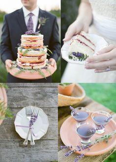 Naked wedding cake with botanical details   Lavender Farm Wedding Inspiration   seattlebridemag.com   Photo: Katie Parra