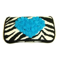 Black zebra with blue chiffon heart baby wipes case  #Ajo.Bebe #Baby_Product