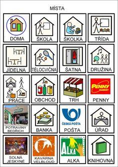 Tak TROCHU ... jiný svět: Místa - piktogramy Lil Pump, Pictogram, Foreign Languages, Adhd, Homeschool, Activities, Education, Logos, Google