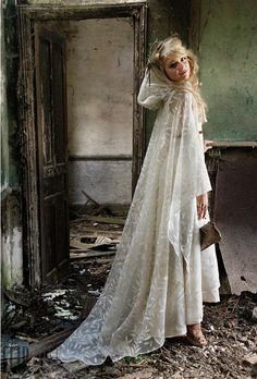 I like the idea of this photo. Something beautiful amongst ugly. Maybe I'll even do this someday in my wedding dress