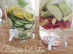 Great idea for a yummy flavored drink without using soda or juice. Great for kids! Play around with different combos. Lemon + Strawberry was good. Note - blueberries (I tried frozen ones) didn't work. Just turned my water blue then sunk to the bottom of my beverage server and clogged the spot. haha | flavor infused water bikini water