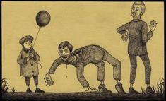 An illustration done on a sticky note by John Kenn Mortensen Monster Art, Monster Drawing, Arte Horror, Horror Art, Creepy Drawings, Dark Drawings, Creepy Art, Weird Art, Image Triste