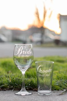 Elegant Bride and Groom Wedding Glasses with Wedding by EVerre