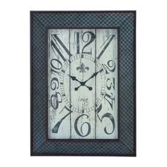 Woodland Imports 20223 Designed Metal Wood Wall Clock with Mesh Pattern