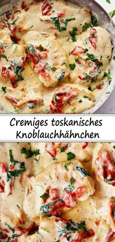 Cremiges toskanisches Knoblauchhähnchen Cremiges toskanisches Knoblauchhähnch… Creamy Tuscan Garlic Chicken Creamy Tuscan Garlic Chicken It tastes like in the restaurant The post Creamy Tuscan Garlic Chicken appeared first on Children's Birthday Ideas. Tuscan Garlic Chicken, Garlic Chicken Recipes, Garlic Ideas, Creamy Garlic Chicken, Butter Chicken, Good Food, Yummy Food, Cooking Recipes, Healthy Recipes