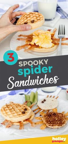Make Halloween even more festive by serving one (or all) of these fun, filling, and healthy spider sandwiches. Whether for breakfast, a lunchbox, or dinner, these spider sandwiches are sure to add both fun and nourishment to your Halloween. Not only do these recipes make great at-home Halloween recipe for your family, they're also a yummy Halloween nut-free party snack for school. | Holley Grainger - Cleverful Living Halloween Recipe, Halloween Food For Party, Halloween Labels, Healthy Halloween, Halloween Halloween, Vintage Halloween, Halloween Pumpkins, Healthy Meals For Kids, Kids Meals