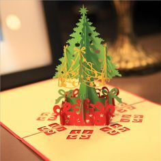 Lovely 3D New Year Event Party Supplies Paper DIY Hand Made Festive Merry Christmas Tree Gift Favors Postcard Greeting Card #Affiliate