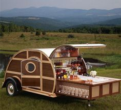 Paneled Woody Teardrop camper trailer with pull-out cocktail bar for a Bulleit Bourbon tailgater Camping Car, Camping Hacks, Camping Humor, Camping Stuff, Camping Life, Rv Life, Funny Camping Memes, Funny Memes, Camping Spots