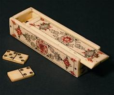 Antique Mexican Hand Carved Bone Domino Game