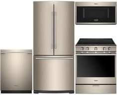 "4-Piece Sunset Bronze Kitchen Package with WRFA60SMHN 30"" French Door Refrigerator, WEEA25H0HN 30"" Electric Slide-In Range, WDTA75SAHN 24"" Fully Integrated Dishwasher and WMHA9019HN 30"" Over-the-Range Microwave"