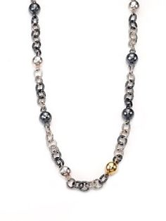 GURHAN - Two-Tone Sterling Silver & 24K Yellow Gold Station Necklace