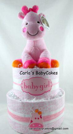 Pink Diaper CakeGirl Diaper CakeBaby Diaper by MsCarlasBabyCakes