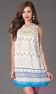 Buy Short Sleeveless Print Shift Dress at PromGirl