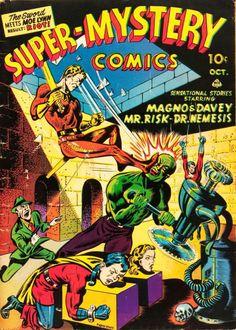 Comic Book Cover For Super-Mystery Comics Comic Book Plus, Comic Book Covers, Comic Books Art, Book Art, Ace Comics, Marvel Comics, Man Of Mystery, Sci Fi Novels, Jr Art