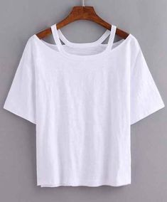 Shop Cutout Loose-Fit White T-shirt online. SheIn offers Cutout Loose-Fit White T-shirt & more to fit your fashionable needs.DIY cut out with large t-shirtProduct name: [good_name] at SHEIN, Category: T-Shirts, Price: [good_price] Shirt Makeover, T Shirt And Shorts, T Shirt Diy, Diy Cutout Shirt, T Shirt Refashion, Diy Tshirt Ideas, Diy Cut Shirts, Shirt Shop, Diy Ideas