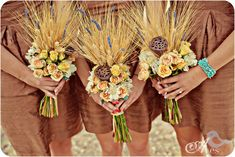 Wheat Bouquets with muted colors and turquoise accents. Oh, and raw silk bridesmaids dresses. Love.