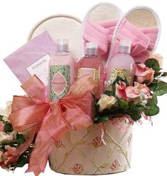 Art of Appreciation Gift Baskets Perfectly Pampered Pink Rose Spa Bath and Body Gift Set Art of Appreciation Gift Baskets Spa Basket, Basket Ideas, Hamper Ideas, Cheap Candles, Aromatherapy Jewelry, Aromatherapy Products, Wraps, Baby Powder, Spa Gifts