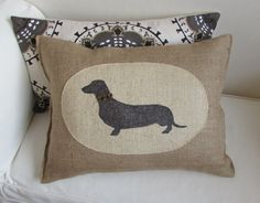 hand painted dachshund on burlap by pineconeshoppe on Etsy, $49.00