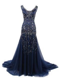 Sheath/Column Scoop Tulle Dark Navy Prom Drsess/Evening Dress SKY237
