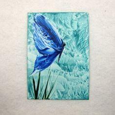 ACEO - Encaustic Art Blue Butterfly £2.75