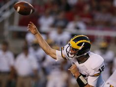 Michigan quarterback Jake Rudock throws an incompletion