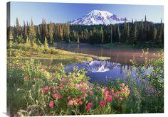 Buy Feng Shui Fine Art Photo Mt Rainier and Wildflowers