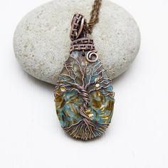 Bornite Tree-Of-Life Necklace Copper Wire wrapped jewelry Turquoise tree-of-life Pendant Necklace Family Tree Wire tree gift Wire Wrap J3