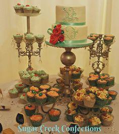 Wedding cake and cupcakes combo
