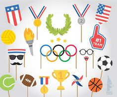 Printable Olympics Photo Booth Props   RIO 2016 by FiestaSupplies