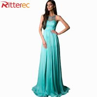 2016 Summer Women Solid Color Hollow Out Lace Stitching Chiffon Long Dress Evening Party Sleeveless Prom Maxi Dresses