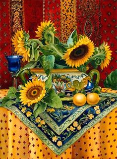 Vonnie Whitworth, Virginia based watercolor artist and signature member . Sunflower Pictures, Sunflower Art, Sunflowers And Daisies, Sun Flowers, Watercolor Artists, Watercolour, Mellow Yellow, Vincent Van Gogh, Still Life