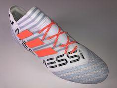 JR SR4U Reflective Orange Punch Soccer Laces on adidas Nemeziz Messi 17.1