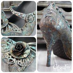 A Steampunk Style shoe...ColourArte Blog Hop ~ Cupcake's Creations
