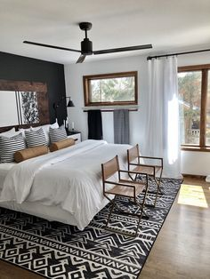 home decor bedroom decor bedroom black Linear Aztec Black Rug Beds: Where is the Best Place to Modern Room, Contemporary Bedroom, Modern Bedrooms, Black Bedrooms, Modern Decor, Girl Bedrooms, Small Modern Bedroom, Cozy Small Bedrooms, Contemporary Kitchens