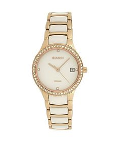 Roberto Bianci Women's Bella Ceramic Watch with Stones and Rose Gold Plating-B295WHT-Wht -