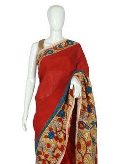 Silk Pen Kalamkari Saree – Desically Ethnic ###Silk Pen Kalamkari Saree