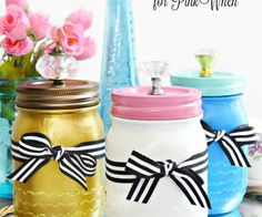 Paint & Sparkle Mason Vanity Jars - a great place to stash baubles or beauty supplies!