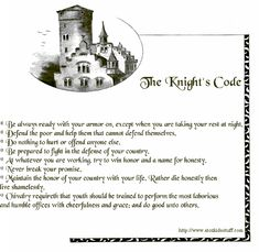A to Z Kids Stuff The Knight's Code History Medieval, Medieval World, Medieval Knight, Medieval Times, Ancient History, Knights Of Ren, Tapestry Of Grace, Knight In Shining Armor, Gentleman Rules