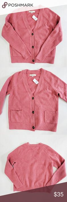 "NWT Ann Taylor LOFT Pink Cardigan Sweater M New with tags. Three buttons to close this super cute pink cardigan with front pocket details.  Measurements: Chest: 19.5"" Length: 23.5"" Sleeve length: 27"" LOFT Sweaters Cardigans"